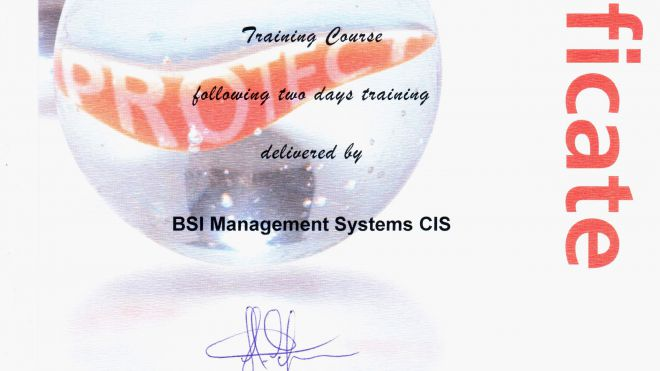 Сертификат ISO/IEC 27001:2005 Internal Auditor