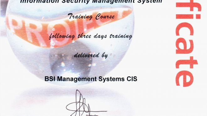 Сертификат ISO/IEC 27001:2005 Implementing a BS ISO/IEC 27001:2005 ISMS