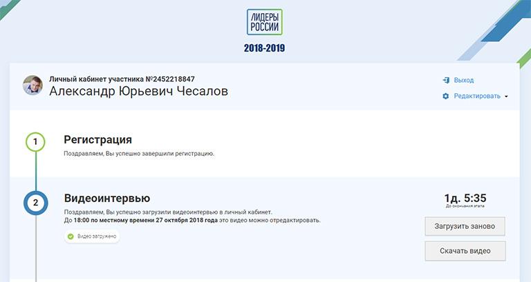 Итак, я участник всероссийского конкурса«Лидеры России»!